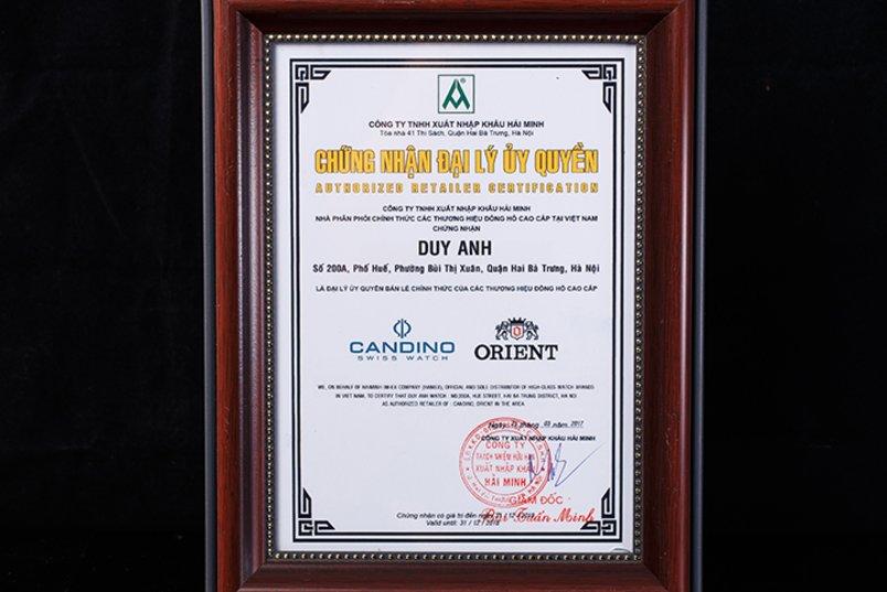 Chứng nhận Duy Anh Watch là Đại lý ủy quyền chính thức thương hiệu CANDINO, ORIENT tại Việt Nam
