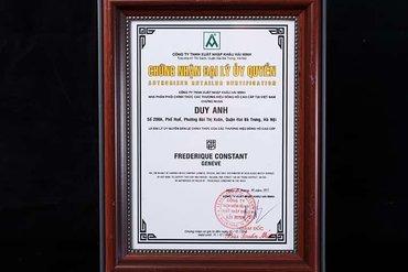 Chứng nhận Duy Anh Watch là Đại lý ủy quyền chính thức thương hiệu FREDERIQUE CONSTANT tại Việt Nam