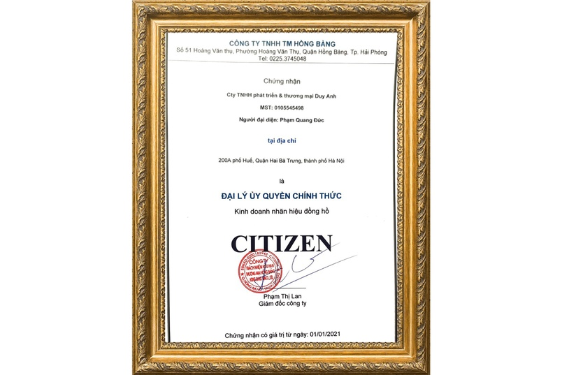 Chứng nhận Duy Anh Watch là Đại lý ủy quyền chính thức thương hiệu Citizen tại Việt Nam