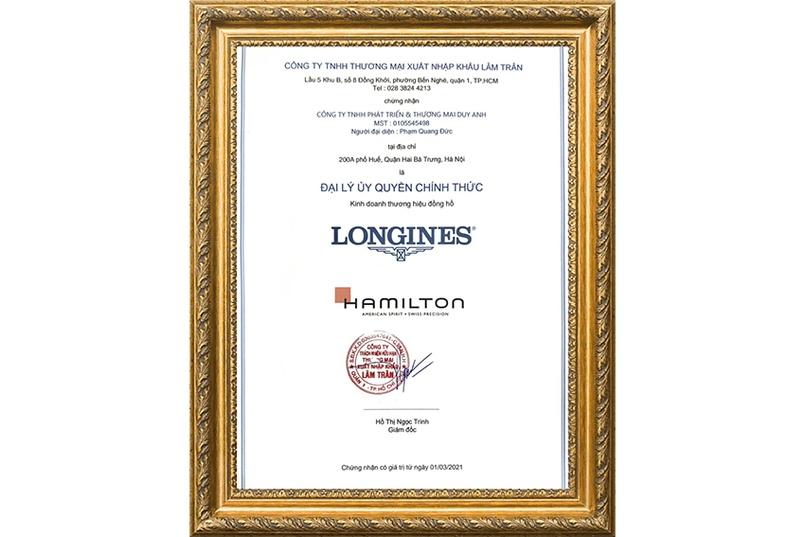Chứng nhận Duy Anh Watch là Đại lý ủy quyền chính thức thương hiệu LONGINES và Hamilton tại Việt Nam