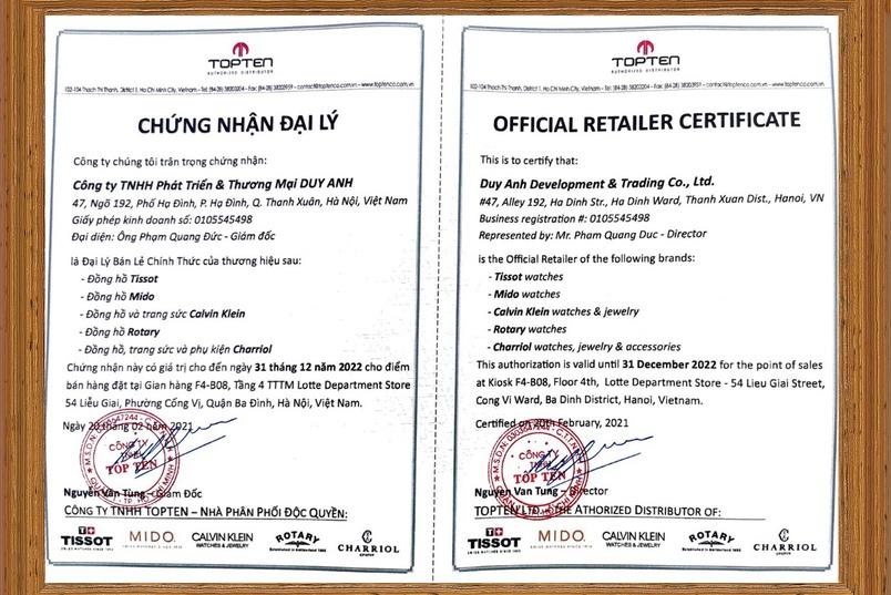 Chứng nhận Duy Anh Watch là Đại lý ủy quyền chính thức thương hiệu Charriol tại Việt Nam