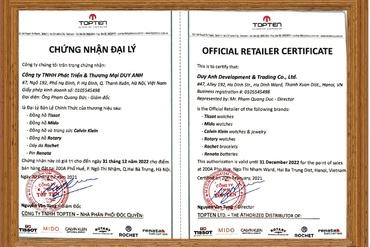 Chứng nhận Duy Anh Watch là Đại lý ủy quyền chính thức thương hiệu TISSOT và Calvin Klein tại Việt Nam