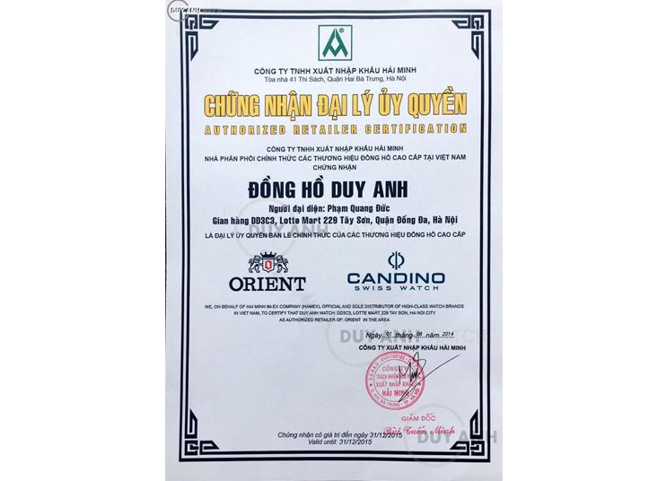 Chứng nhận Duy Anh Watch là Đại lý ủy quyền chính thức thương hiệu Orient tại Việt Nam