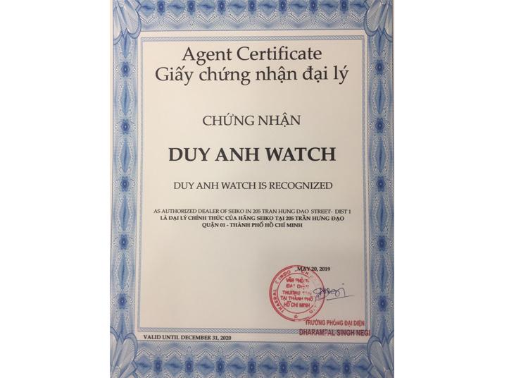Chứng nhận Duy Anh Watch là Đại lý ủy quyền chính thức thương hiệu SEIKO tại Việt Nam