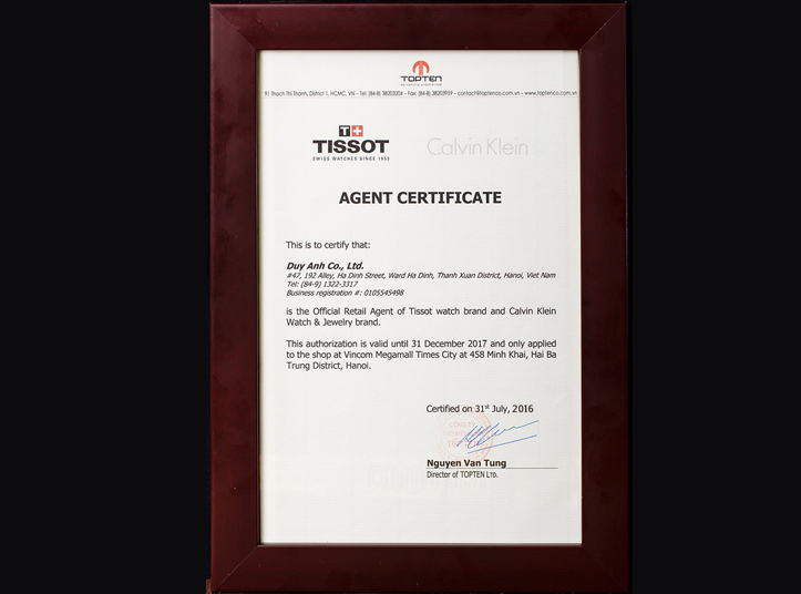 Chứng nhận Duy Anh Watch là Đại lý ủy quyền chính thức thương hiệu TISSOT tại Việt Nam